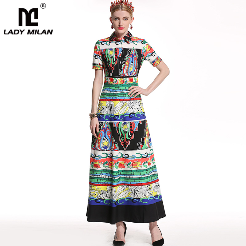 Lady Milan 2018 Womens Turn Down Collar Beaded Short Sleeves Printed Sash Bow Belt Fashion High Street Long Dresses