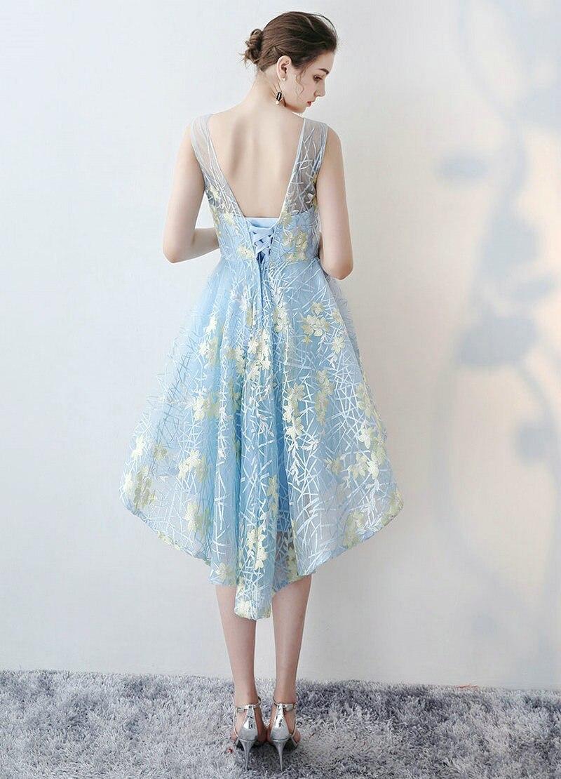 Fashion Sky Blue Lace Prom Dresses 2018 New Scoop Knee Lingth ...