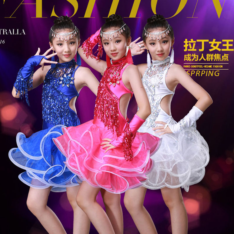 ballroom dancing dresses for kids fringe child kid children professional latin dance dress girls tassel girl cha cha sexy salsa