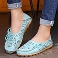 Caliente Tamaño 34-44 zapatos de las mujeres Respirables slip on pisos Mocasines de cuero genuino de las mujeres zapatos planos del ballet de las mujeres los planos de las mujeres mocasines