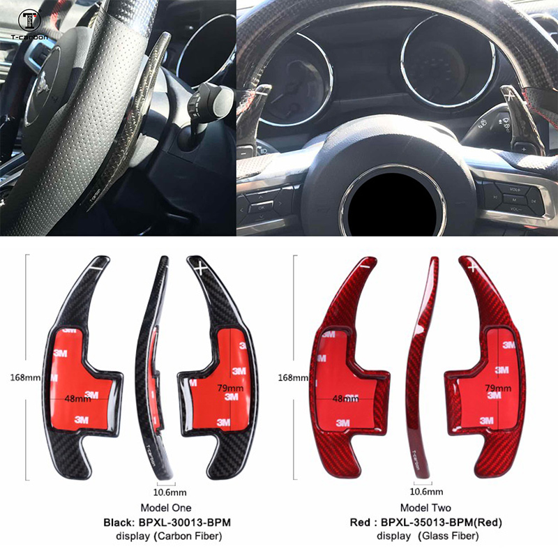 Car styling Real Carbon Fiber Steering Wheel Shift Paddles Extension Shifters Gear kit For Ford Mustang 2015 2016 2017 Range