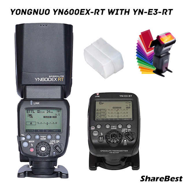 YONGNUO YN600EX-RT II sans fil HSS Master Flash pour appareil photo Canon as 600EX-RT + YN-E3-RT TTL flash déclencheur + filtre + diffuseur