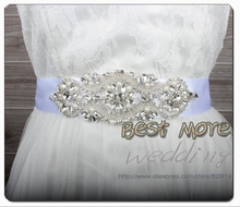Fashion evening Dress Belt Wedding Dress Sash for Bridal Handmade with Ribbon and Rhinestones Applique