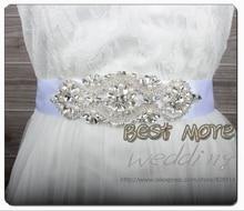 Fashion evening Dress Belt Wedding Dress Sash for Bridal Handmade with Ribbon and Rhinestones Applique