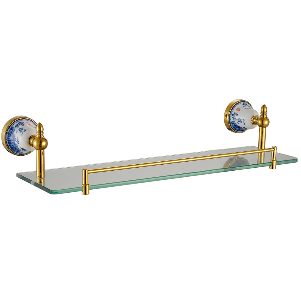 Blue and white porcelain bathroom accessories - Blue And White Porcelain Single Glass Shelf Golden Antique Bathroom Shelves Accessories With 304 Stainless Steel