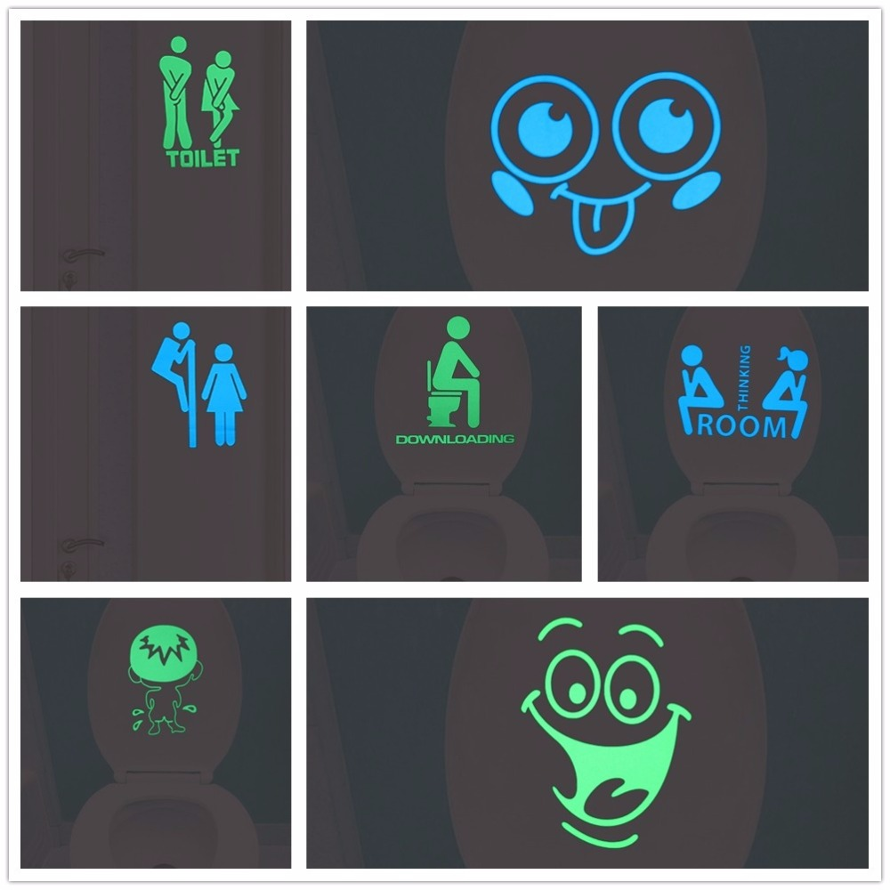 Funny Smile Bathroom Wall Stickers Glow in the Dark Toilet Sticker Home Decor Waterproof Wall Decals WC Door Decorative Poster