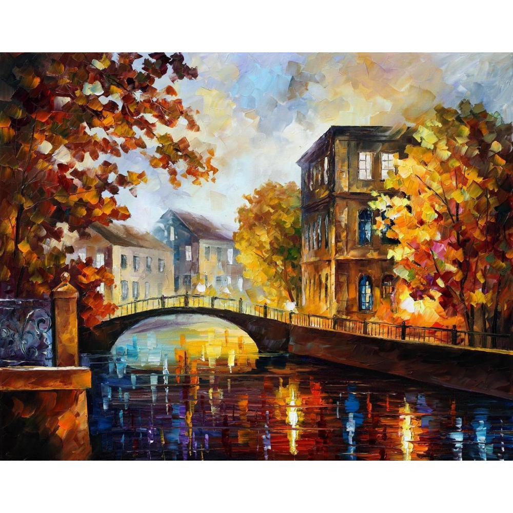 High quality handmade palette knife oil painting on canvas the river of memories home picture decor modern art