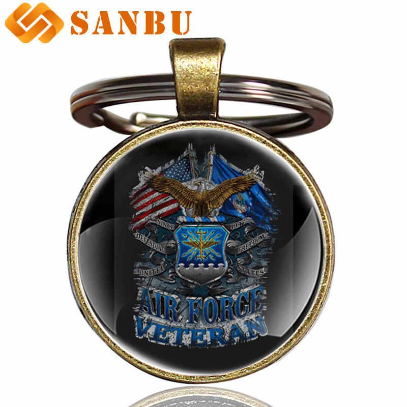Moda US Army brelok klasyczny amerykański weteran sił powietrznych orzeł szkło Cabochon breloczek