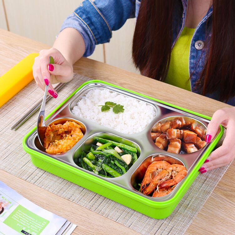 Portable Stainless Steel Lunch food Box Cute Cartoon Pig rice Box Cute Student Bento Box For Child Free Shipping