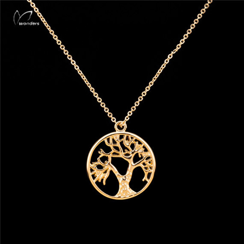 Gold Silver Tree of Life Disk Chain Pendant Necklace Beautiful Vintage Style Copper Brass Unisex For Adults and Children