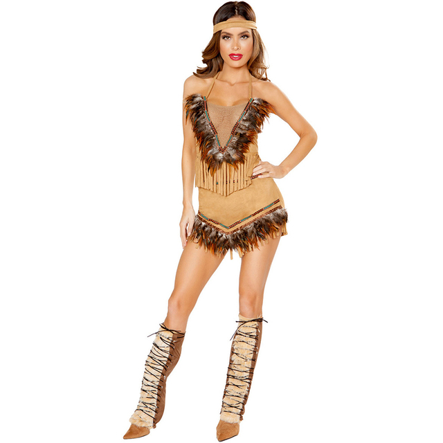 e377acd8d05 US $25.18 10% OFF|Women Pocahontas Costume Retro Indian Princess Costume  Outfit Halloween Native Savage Forests Hunter Costume for Adult Woman-in ...