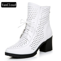 Women's Platform Shoes Summer Boots New 2019 Breathable Cutout Genuine Leather Boots Woman Square Heel Short Boots White