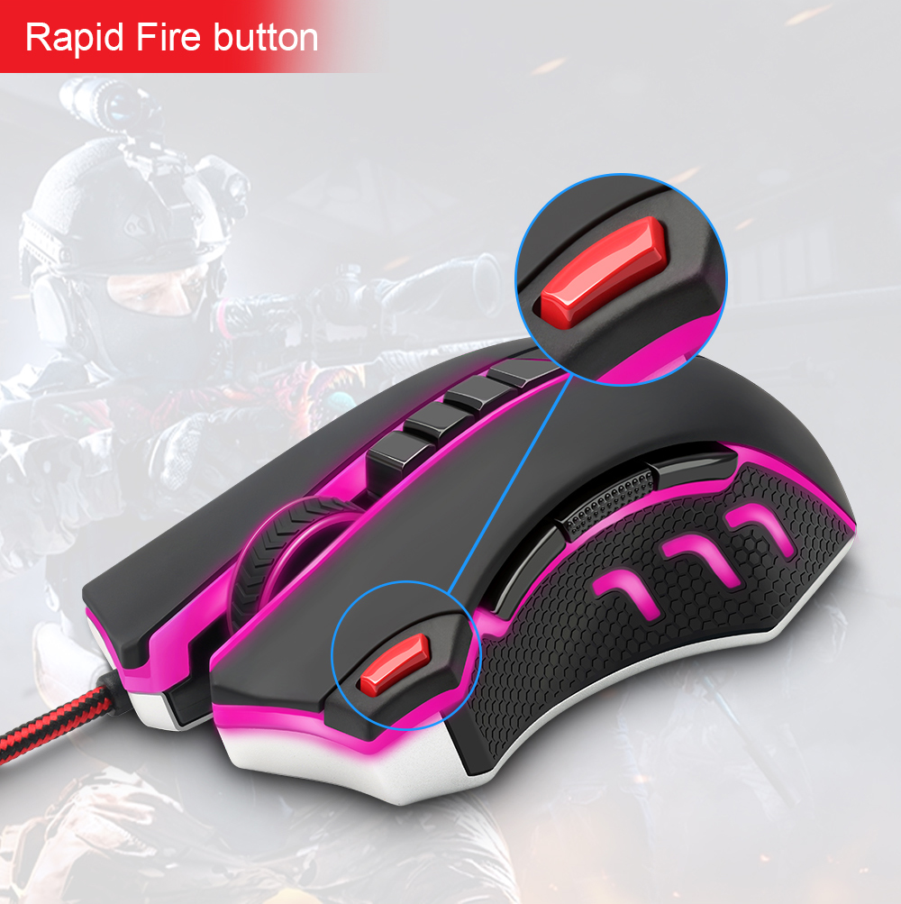 Redragon USB wired RGB Gaming Mouse 24000DPI 10 buttons laser programmable game mice LED backlight ergonomic for laptop computer 12