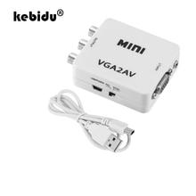 Kebidu 1080P Mini VGA a RCA AV Convertitore con 3.5mm Audio VGA2AV/CVBS + Audio Converter per HDTV PC Bianco