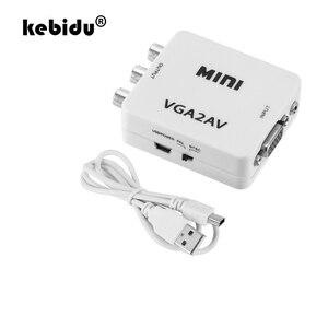 Image 1 - kebidu 1080P Mini VGA to AV RCA Converter with 3.5mm Audio VGA2AV/CVBS+Audio Convertor for HDTV PC White