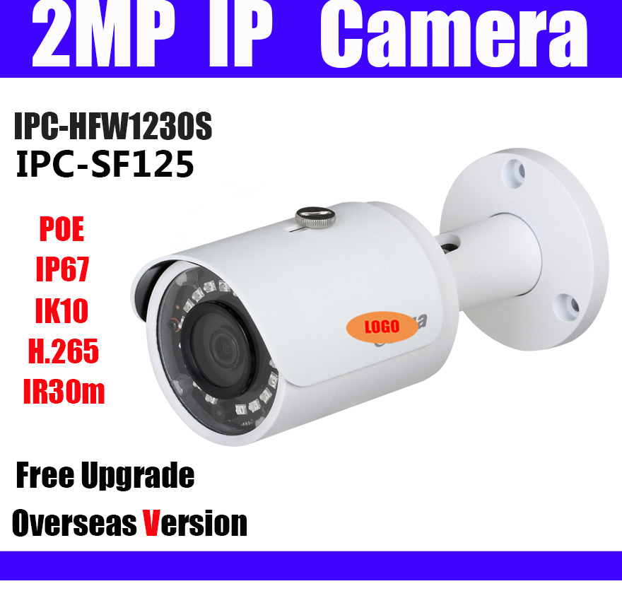 IPC HFW1230S IPC SF125 2MP IP Camera POE Bullet h 265 English firmware IR 30m IP67
