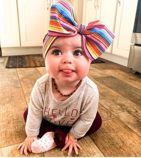 Newborn Large Bow Print Headwrap One Size Baby Girl Fabric Messy Bow Headband Nylon Headband Infant Hair Bows Turban Bowknot Tie