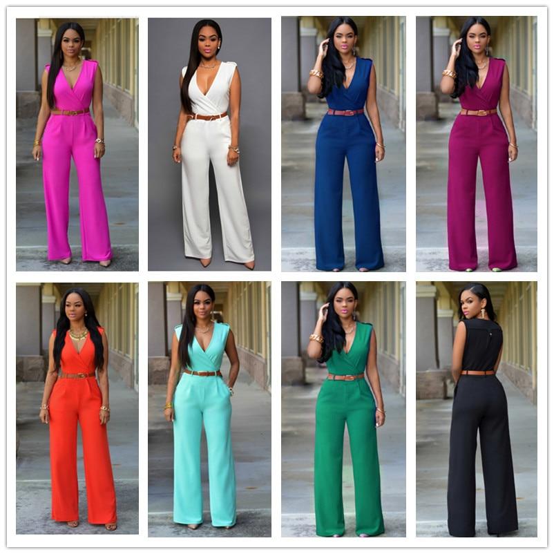 2016 European Summer trade aliexpress Ladies Jumpsuit V collar Waist Wide Leg Pants Suit ...