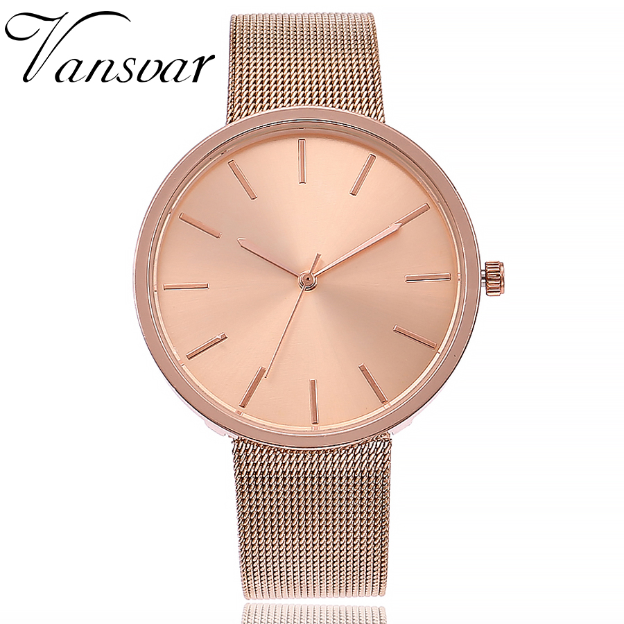 Vansvar Brand Fashion Silver & Rose Gold Mesh Band Wrist Watch Casual Women Quartz Watches Gift Relogio Feminino Hot vansvar brand fashion casual relogio feminino vintage leather women quartz wrist watch gift clock drop shipping 1903