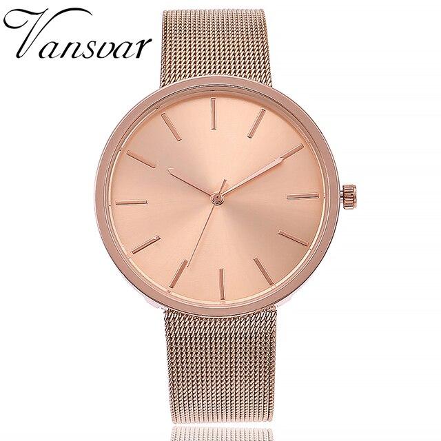 cb4d849c264 Vansvar Marca Moda Prata   Rose Gold Banda Malha Relógio de Pulso Das  Mulheres Casuais Quartzo