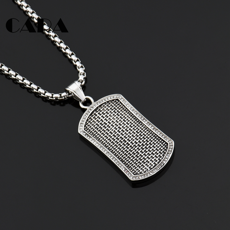 2018 New retro silver embossed dog tag pendant necklace 316L stainless steel tag necklace with pave setting CZ stones CAGF0475 no 7 stylish 316l stainless steel hand skeleton pendant necklace black silver