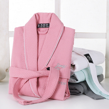 Waffle bathrobe men women cotton terry  XL men's robe nightgown ladies sleepwear long soft home hotel spring summer