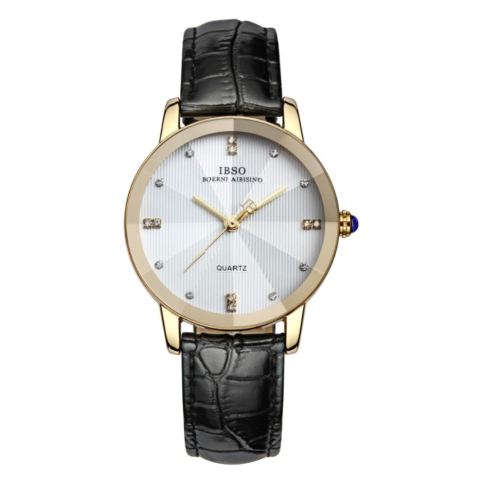 IBSO Luxury Diamonds Yellow Gold Watch for Lovers Genuine Leather Analog Watches 3829 цена