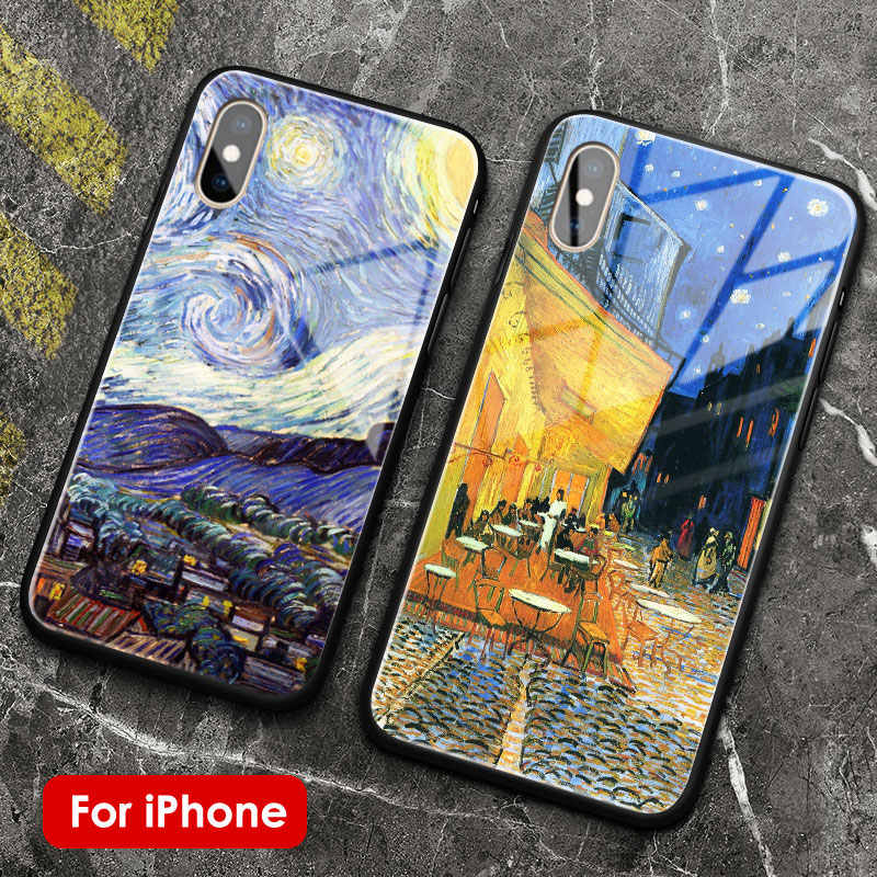 Vincent Van Gogh Gallery tempered glass soft silicone phone case shell for iPhone SE 6 6s 7 8 Plus X XR XS 11 PRO 12 mini MAX
