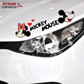 Car Decoration Cartoon Sticker Mickey Minnie Mouse Vinyl Funny Car Decal Sticker for Light Brow Auto Head Reflective Decoration