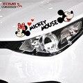 Carro decoração etiqueta dos desenhos animados Mickey Minnie Mouse cabeça de vinil engraçado adesivo decalque do carro para sobrancelha luz reflexiva decoração