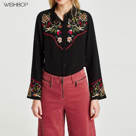 WISHBOP NEW 2018 Fashion Lady Black EMBROIDERED Shirt lapel collar long  sleeves button up contrasting piping sleeves chest back-in Blouses & Shirts  from ...