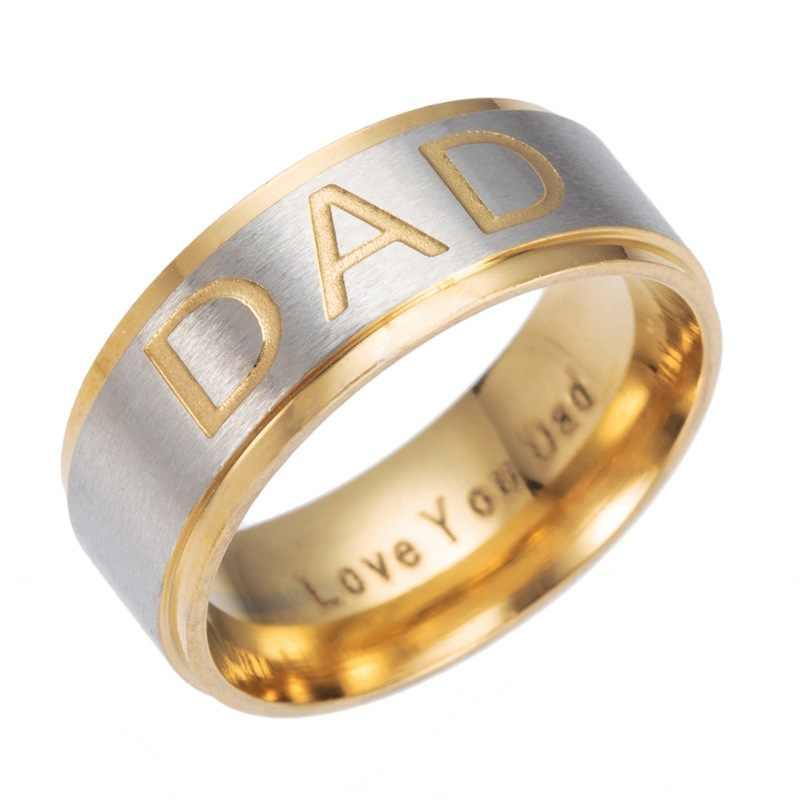 Gaxybb 3 kolory ze stali nierdzewnej grawerowane pierścień kocham cię tata tata mężczyzn biżuteria pierścień tata pierścień