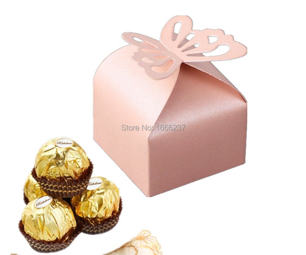 50Pcs Butterfly Party Wedding Favor Boxes Candy Gift Bomboniere ...