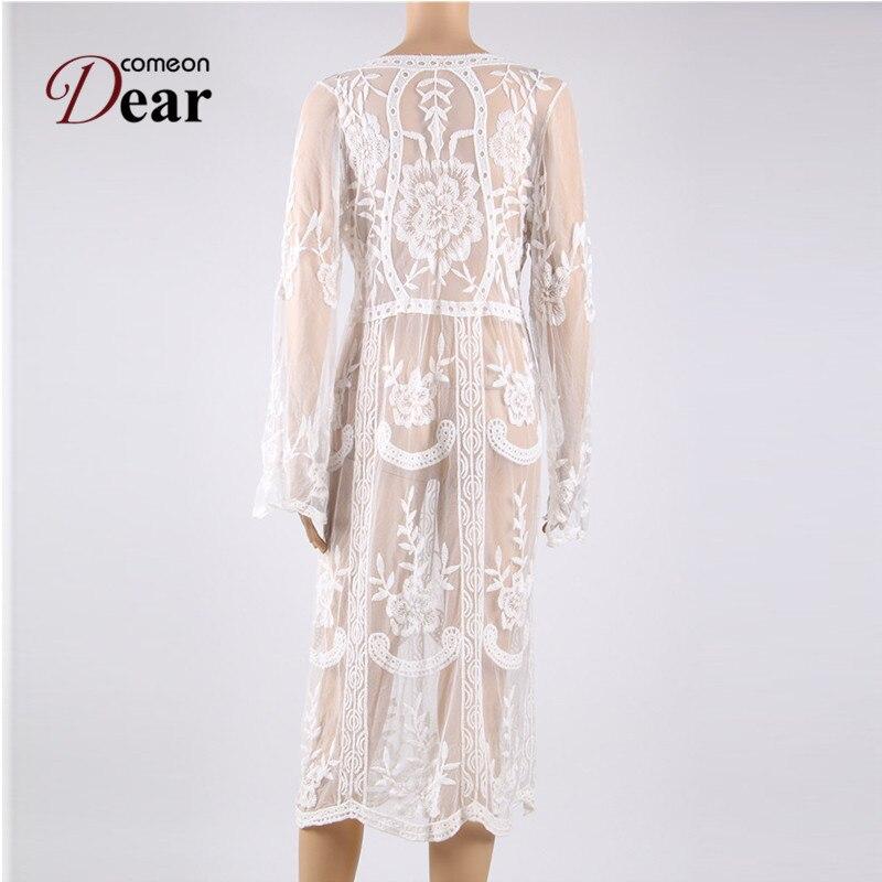 42bd7f5ab2 BK289 Wholesale kaftan Women Dress White Floral Lace See Through Beach Dress  New Fashion Trend Summer Autumn Vestidos De Playa-in Dresses from Women s  ...
