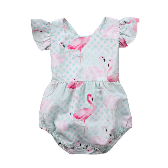 58799329e70 Newborn Infant Baby Girl Ruffles Romper Flamingo Jumpsuit Sunsuit Summer  Clothes Outfits Baby Clothing