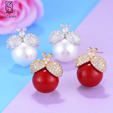 New AAA Cubic Zirconia Stud Earrings Charm Insect Shape Indian Statement Earrings For Women Silver Red Color Jewelry Gift