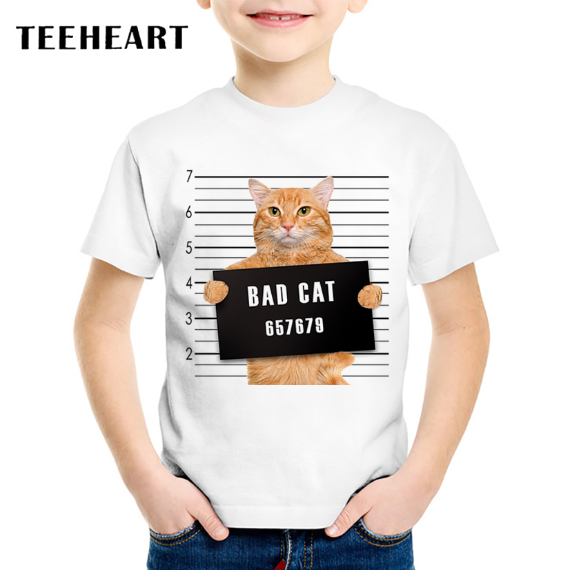 Tops, Printed, Cat, Police, Children, T-shirt