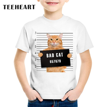 TEEHEART Newest Boys/girlss Modal T-shirt Serious Bad Cat Police Station Printed 18M-10T Summer Children Casual Tops Tees TA555