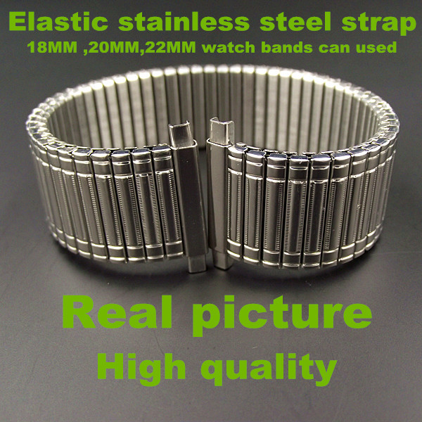 Retail -1PCS High quality Elastic stainless steel strap 18MM ,20MM ,22MM watch band can used - silver color-526Retail -1PCS High quality Elastic stainless steel strap 18MM ,20MM ,22MM watch band can used - silver color-526