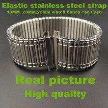 Venta al por menor-1 UNIDS Elástico de Alta calidad correa de acero inoxidable de 18 MM, 20 MM, 22 MM banda de reloj puede utilizar-plata color-526