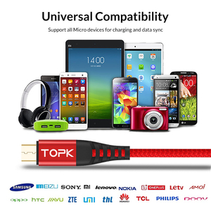 Image 4 - TOPK [3 Pack] 1 M Cao Độ Bền Kéo Nylon Bện 2A Nhanh Micro USB Cable đối với Samsung Xiaomi huawei LG Máy Tính Bảng Android USB Cáp Dữ Liệu