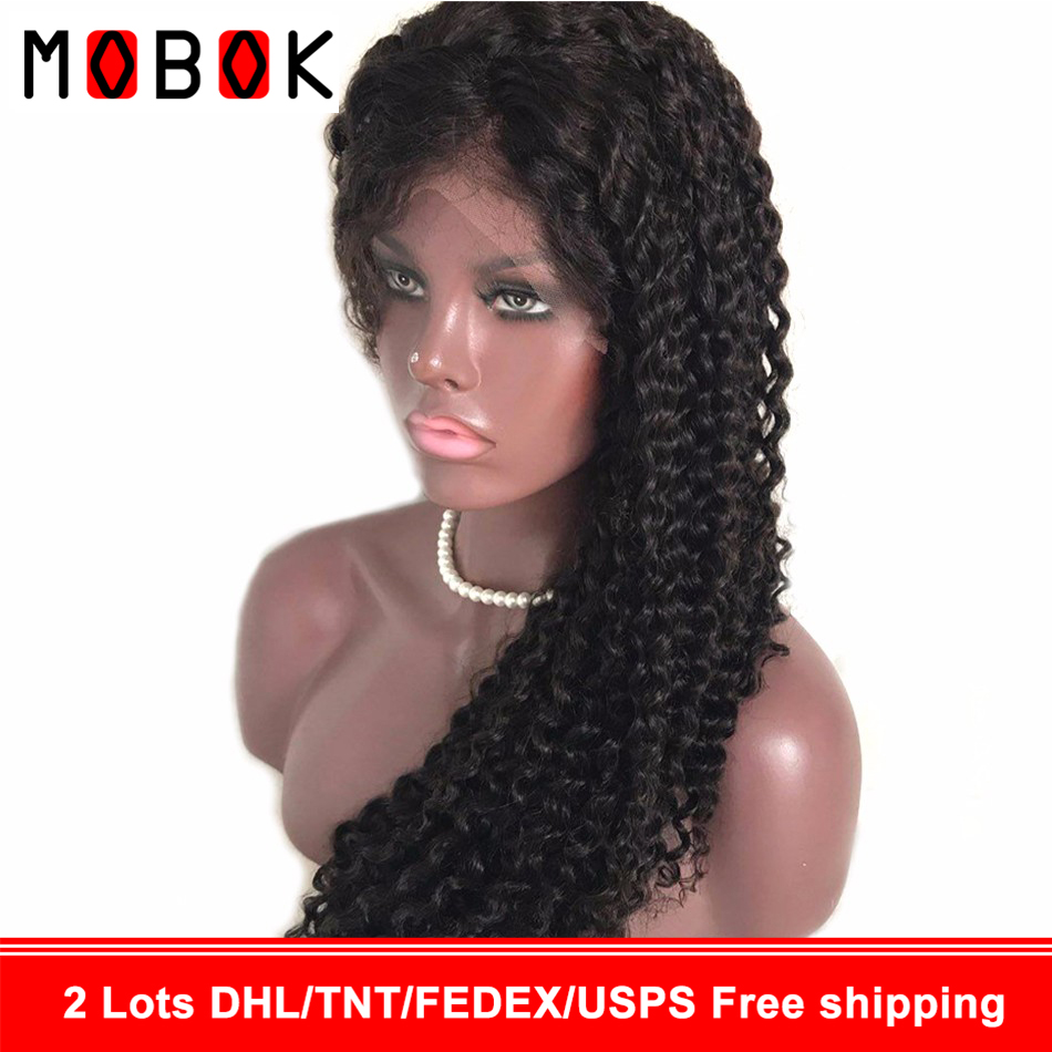 360 Kinky curly Wigs Glueless Lace Front Human Hair Wigs Pre Plucked Brazilian Remy Natural Hair Deep Wave Frontal Wig For Black(China)