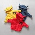 Дети Рог С Капюшоном Пальто Дети Письмо Кофты Хлопка Пальто Милый Ребенок Осенью Верхняя Одежда Бесплатная Доставка