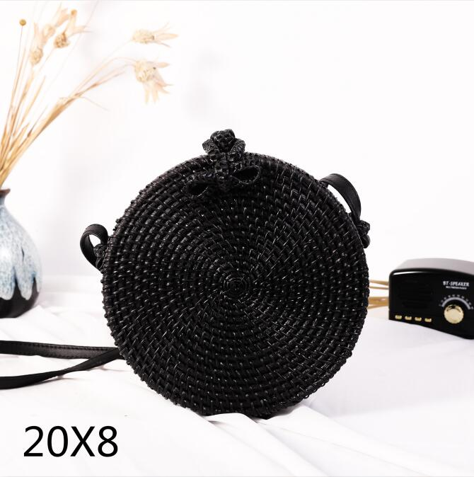Woven Rattan Bag Round Straw Shoulder Bag Small Beach HandBags Women Summer Hollow Handmade Messenger Crossbody Bags 28