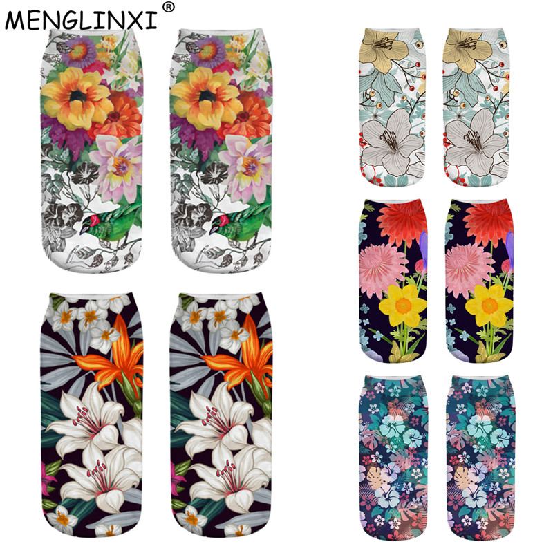 Floral   Socks   3D Printing   Sock   Women 2019 New Brand   Sock   Fashion Unisex Meias Female Funny Low Ankle Cartoon   Socks   Drop Shipping