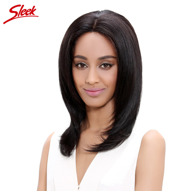 Sleek Lace Front Human Hair Wig , Free Part Perruque Cheveux Humain, Natural Black Lace Wig,  Straight Frontal Wigs , 18 inch