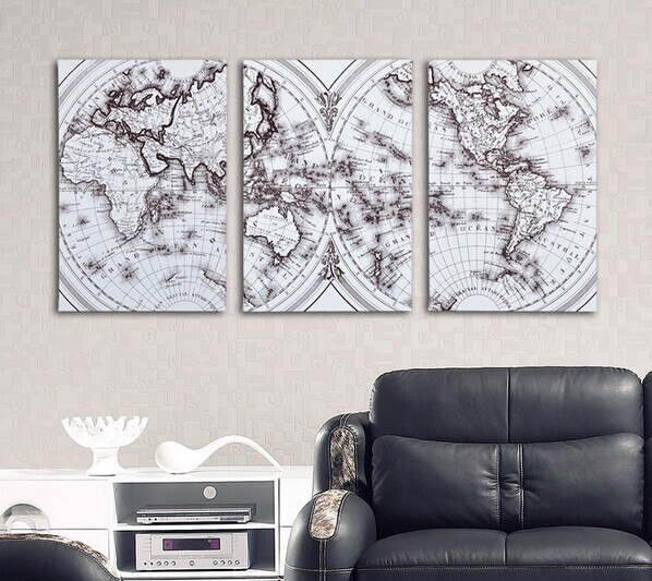 2015 Free shipping canvas painting wall 4panels Globe world map wall art home decoration Modern Picture : globe wall art - www.pureclipart.com