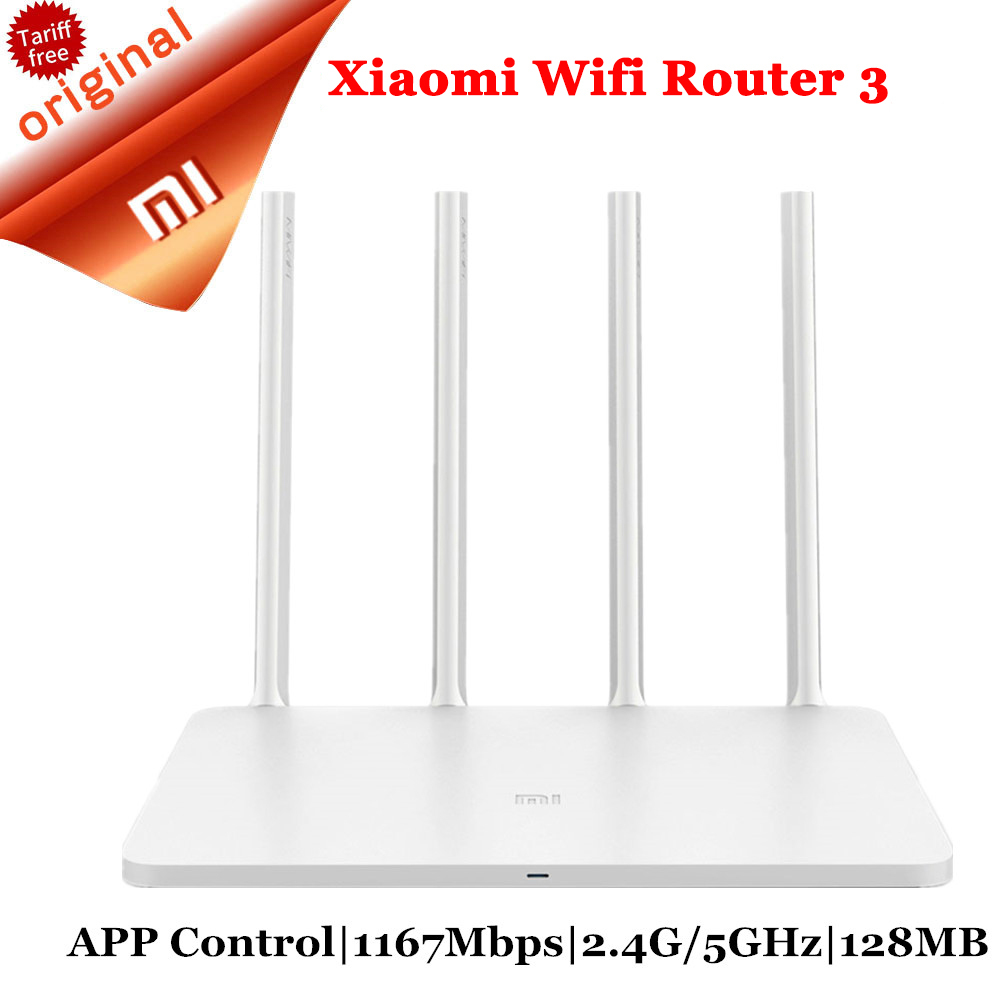 Original Xiaomi Router 3 1167Mbps WiFi Repeater 2.4G/5GHz 128MB Dual Band APP Control Wireless Routers Wi-Fi Router 3 xiaomi mi wifi router hd 1tb black