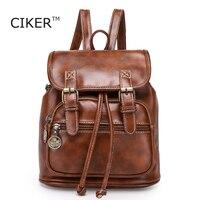 QINGMU 2016 New Women Fashion Designer Brand Backpacks Vintage Leather Shoulder Bag Retro Small Lady Schoolbag