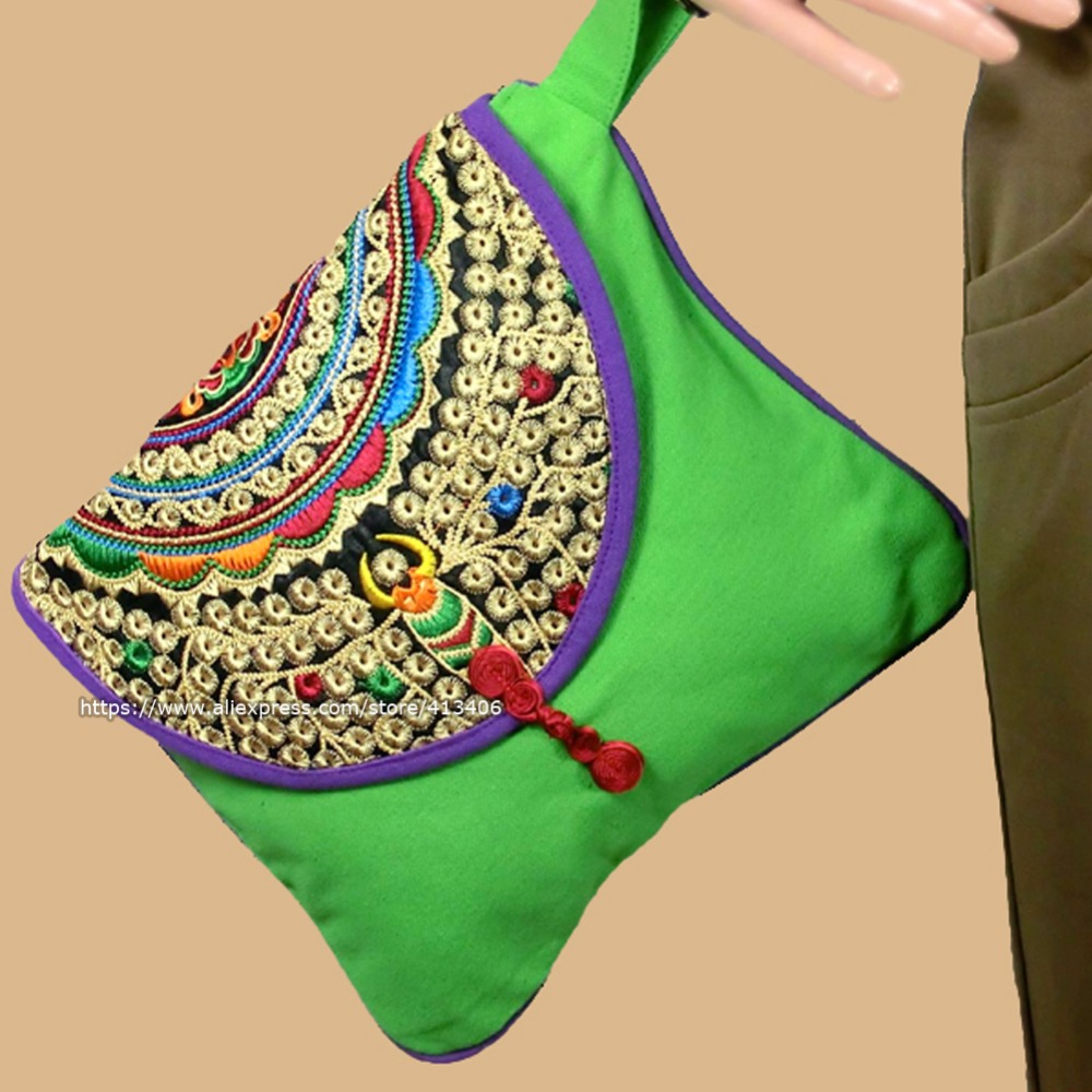 Wristlet bag vintage Hmong Thai Indian embroidered bag Fashionable clutch purse, Boho Hippie Ethnic cosmetic bag , SYS-142B
